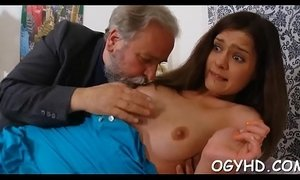 Steaming young chick fucks old boy