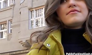 Czech girl flashes her tits and fucked for some money