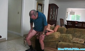 Teen amateur sucking off geriatric