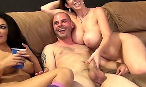 Nasty brunette mommy Sara Jay licks dudes balls in group oral play