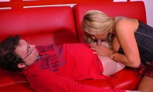 Tanned blond bitch is sucking a hard cock like a greedy for cum bitch