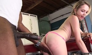 Huge black dick is not a problem for naughty blond hottie Angel Smalls