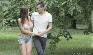 Beautiful brunette Renata Fox is having sensual anal sex in the garden