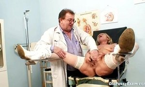 Blond granny open pussy and vagina checkup