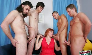 Four guys fuck redhead mom s brains out and cumspray her face, but she just can t get enough     Pics