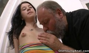 Olga has her breasts licked by older man